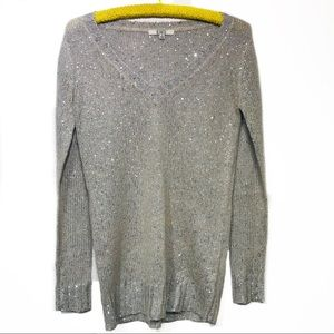 BB Dakota v-neck sweater tan silver size small